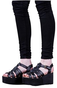 SUN Wedge Heel Platform Black Platforms