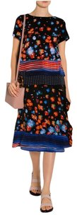 SUNO Tiered Blue Red Black Floral Print Wrap Silk 4sm Skirt Multi-Color