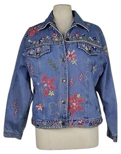 Susan Bristol Womens Floral Denim Long Sleeve Multi-Color Jacket