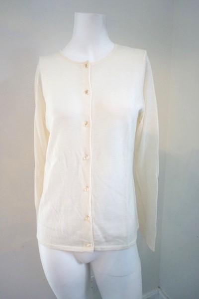 Sutton Studio Off White Cashmere Cream Sweater Cardigan Size 6 (S ...