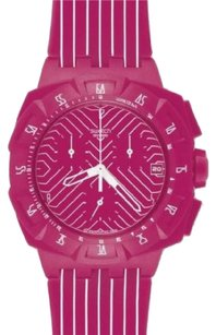 Swatch Women's Pink Run SUIP401 Chronograph Pink Dial Plastic Quartz Watch