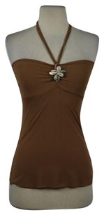 Sweet Pea by Stacy Frati Womens Tan Halter Top