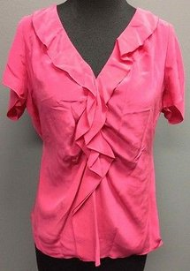 T Tahari T Hot Silk Short Sleeve V Neck Ruffle Front Accent 3137 Top Pink