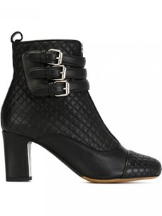 Tabitha Simmons Nash Quilted Leather Buckle Ankle Black Boots