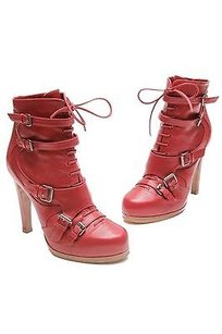 Tabitha Simmons Leather Kasia Lace Up Ankle Size Red Boots