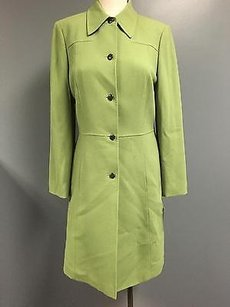 Tahari Light Collared Button Up Long With Sma4455 Green Jacket