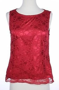 Tahari Womens Floral Lace Top Red