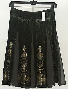 Tahari Crushed Velvet Embroidered B321 Maxi Skirt Brown