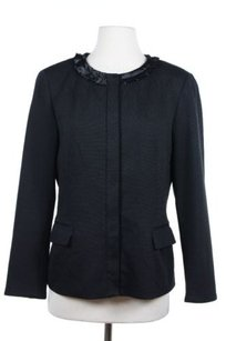 Tahari Tahari Womens Black Solid Blazer Polyester Blend Long Sleeve Basic Jacket