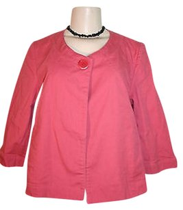 Talbots Swing Coral Stretch Cotton 34 Sleeve One Button Pink Jacket