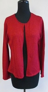 Talbots Deep Silk Blend Open Front Knit Crewneck Cardigan S466 Sweater