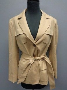Talbots Beige Wool Blend Lined Fitted Belted Button Front Sma6625 Pea Coat