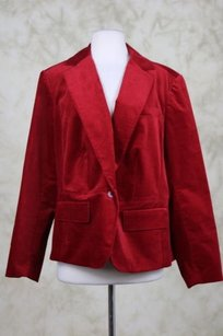Talbots Talbots Woman Womens Red Blazer 14w Cotton Velvet Wtw Long Sleeve Basic