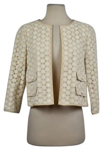 Talbots Talbots Womens Beige Floral Blazer Cotton 34 Sleeve Career Jacket