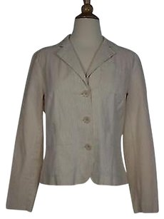 Talbots Talbots Womens Beige Striped Blazer Long Sleeve Cotton Blend Jacket