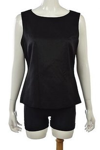 Talbots Womens Cotton Sleeveless Casual Solid Shirt Top Black