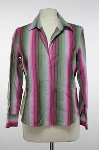 Talbots Womens Green Striped Top Pink