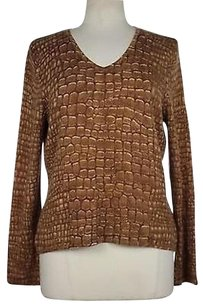 Talbots Womens Brown Printed Sweater