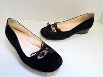 Taryn Rose Katelyn Black Suede Patent Leather Ballet Wedge Rt Flats
