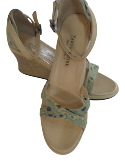 Taryn Rose Size Mint/Navy Floral Devote Wedges Size Rose US 10 d3c434