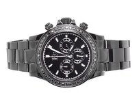 Techno Com by KC Mens Ladies Black Stainless Steel 41mm Techno Com Kc Daytona Diamond Watch 1.9ct