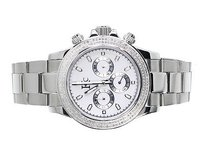 Techno Com by KC Mens Ladies White Stainless Steel 41mm Techno Com Kc Daytona Diamond Watch 1ct