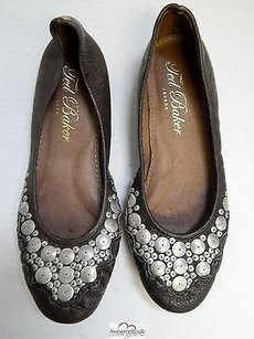 Ted Baker Leather Pewter Flats