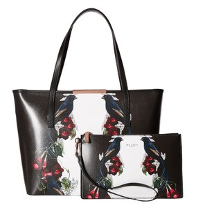 Ted Baker Leather Gold Bejeweled Shadows New With Tags Tote in Black