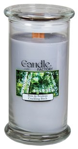 The Candle Factory The Candle Factory Large 15-ounce Jar Crackling Candle, Crackling Birch