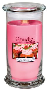 The Candle Factory The Candle Factory Large 15-ounce Jar Crackling Candle, Raspberry and Cream Cupcake