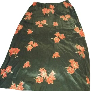 The Limited Maxi Skirt Black with red flowers