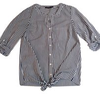 The Limited Striped Office Button Down Shirt Navy