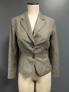 The Limited The Limited Brown Cotton Blend Collared Button Long Sleeve Blazer Sma2178