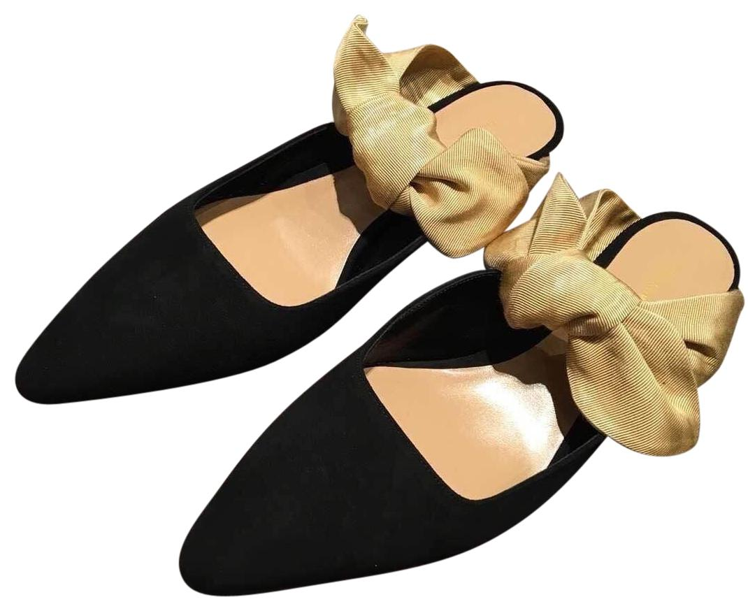The Row Black and Gold Satin Bow Mules Pumps Size US 7 Regular (M, B)