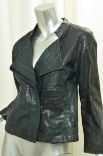 Theory Womens Casual Classic Dark Leather Zip Coat Teal Jacket
