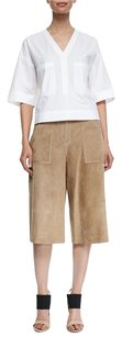 Theory Gera Tan Brown Wide Capri/Cropped Pants Beige