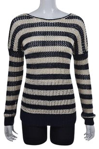 Theory Womens Navy Crewneck Striped Knit Shirt Casual Sweater