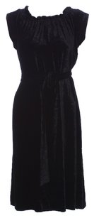 Theory Cocktail Velvet Strapless Bodycon Silk Belted Dress