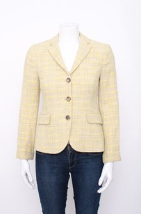 Theory Theory Pale Yellow Tweed Plaid Cotton Button Up Notch Collar Blazer Jacket 2s