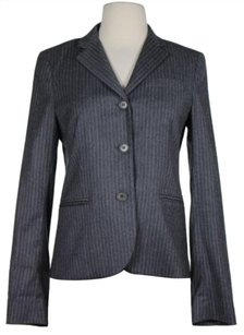 Theory Theory Womens Gray White Striped Blazer Wool Blend Jacket Long Sleeve
