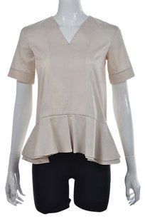 Theory Lacole Womens P Cotton Shirt Top Beige