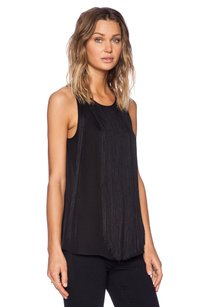 Theory Montien Fringed Front Silk Sleeveless Round Neck Tank Top Black