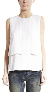 Theory Gentaire Silk Asymmetric Sleeveless Tank Dress Shirt P0xs Top White