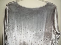 Theory Very Deep Side Slits Plush Silk Blend Lined Top NWT Silver Velvet