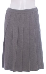 Theory Wool Faux Wrap Pleated Merino A-line Skirt Gray