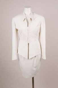 Thierry Mugler Vintage Thierry Mugler Off-white Snap Button Structured Skirt Suit