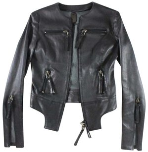 Thomas Wylde Fitted Leather Black Jacket
