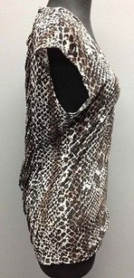 Three Dots Brown Black Gray Modal Animal Print Ruched Back Sm14289 Top Multi-Color