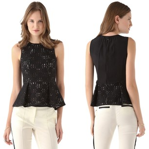 Tibi Crewneck Crochet Monochrome Classic Silk Peplum Lace Top Black, White