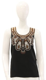 Tibi Silk Paisley Abstract Sleeveless Printed Top Black, Brown